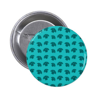 Cute turquoise mushroom pattern 6 cm round badge