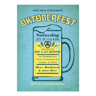 Cute Turquoise Oktoberfest Invitations