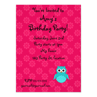 """Cute Turquoise owl pink flowers 6.5"""" X 8.75"""" Invitation Card"""