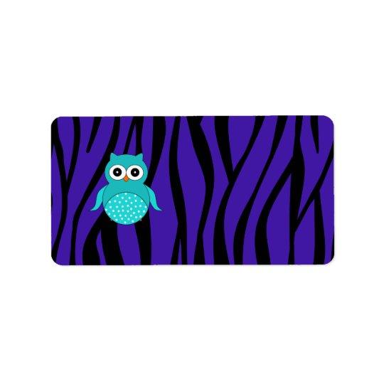 Cute turquoise owl purple zebra stripes address label