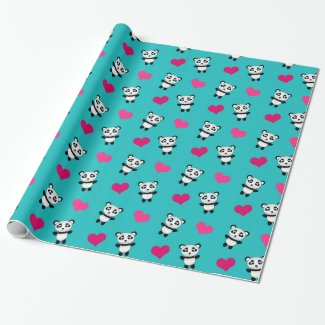 Cute turquoise panda hearts pattern