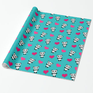 Cute turquoise panda hearts pattern wrapping paper