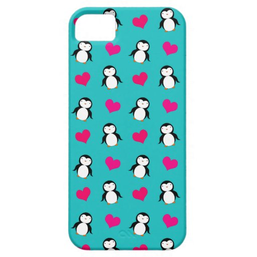Cute turquoise penguin hearts pattern cover for iPhone 5/5S