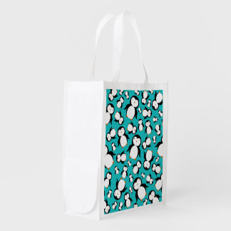 Cute turquoise penguin pattern reusable grocery bag