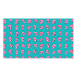 Cute turquoise pig pattern business card templates