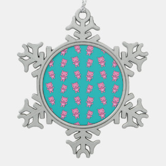 Cute turquoise pig pattern pewter snowflake decoration