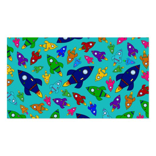 Cute turquoise rocket ships pattern business card template