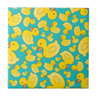Cute turquoise rubber ducks small square tile