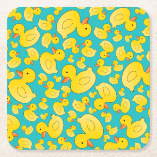 Cute turquoise rubber ducks square paper coaster