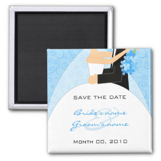 Cute Turquoise Save the Date magnets