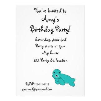 Cute turquoise seal custom announcement