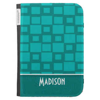 Cute Turquoise Squares Kindle 3G Cases