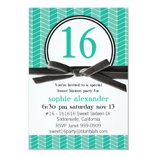 Cute  Turquoise Sweet 16 Party 3.5x5 Paper Invitation Card