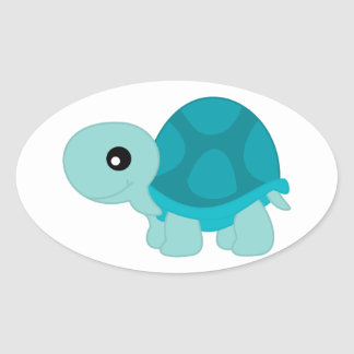 Cute Turquoise Tortoise Oval Sticker