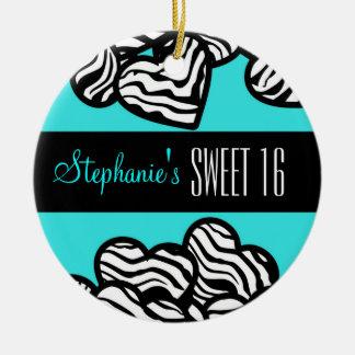 Cute Turquoise zebra heart Sweet 16 Ornament