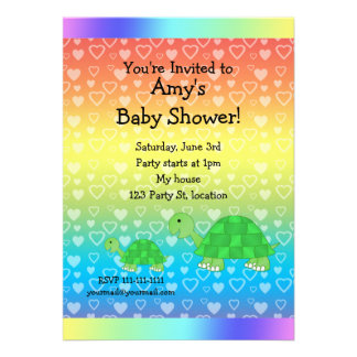 Cute turtle baby shower personalized invitations