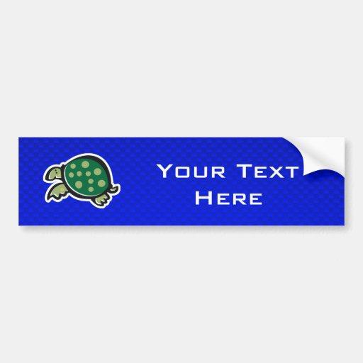 Cute Turtle; Blue Bumper Stickers