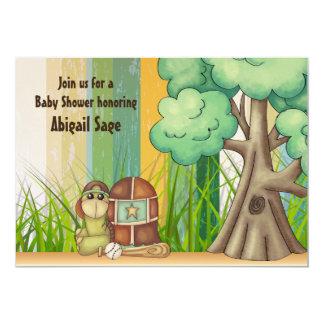 Cute Turtle Boys Baseball Baby Shower Invitation