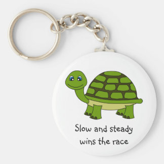 Cute Turtle Cartoon Basic Round Button Key Ring