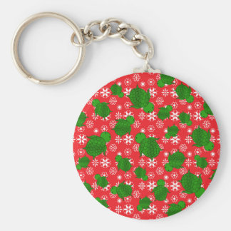 Cute turtle christmas red white snowflakes basic round button key ring