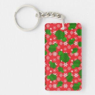 Cute turtle christmas red white snowflakes Single-Sided rectangular acrylic key ring
