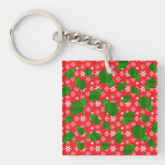 Cute turtle christmas red white snowflakes Single-Sided square acrylic key ring