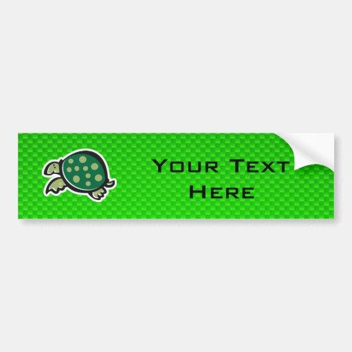 Cute Turtle; Green Bumper Stickers