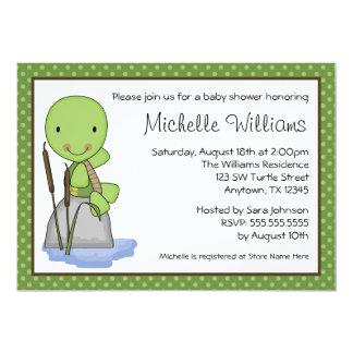 Cute Turtle Green Polka Dot Baby Shower 13 Cm X 18 Cm Invitation Card