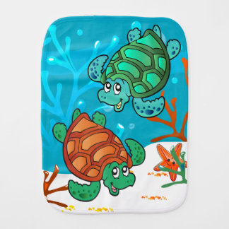 Cute Turtle Ocean Baby Burp Burp Cloth