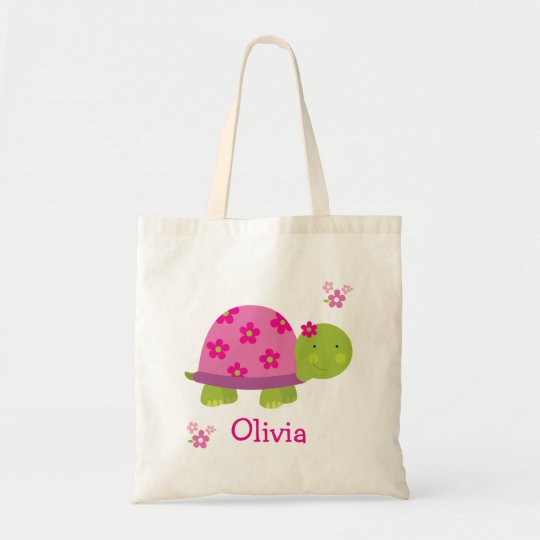 Cute Turtle Personalised Bag Tote for Girl