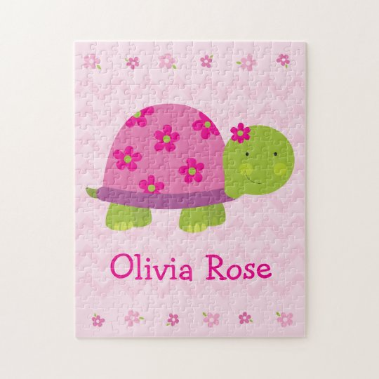 Cute Turtle Personalised Puzzle for Girls