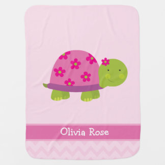 Cute Turtle Personalized Blanked for Girls Baby Blanket