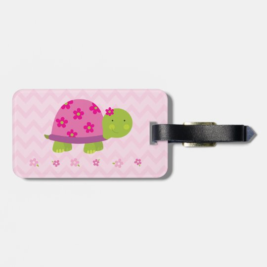Cute Turtle Pink Luggage Tap - Personalised Luggage