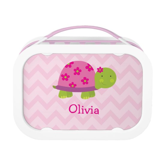 Cute Turtle Pink Personalised Yubo Lunchbox