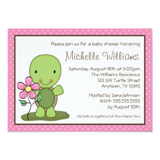 Cute Turtle Pink Polka Dot Baby Shower 13 Cm X 18 Cm Invitation Card
