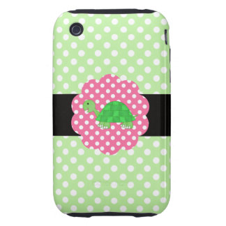 Cute turtle polka dots green iPhone 3 tough covers