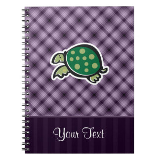 Cute Turtle; Purple Spiral Notebooks