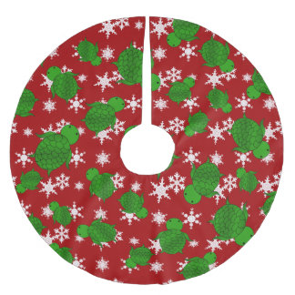 Cute turtle red snowflakes brushed polyester tree skirt