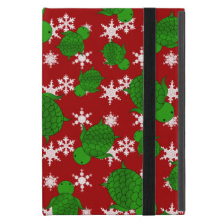 Cute turtle red snowflakes cover for iPad mini