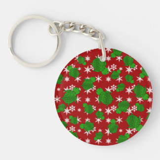 Cute turtle red snowflakes Single-Sided round acrylic key ring