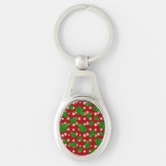 Cute turtle red snowflakes Silver-Colored oval metal keychain