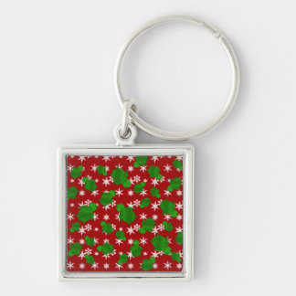 Cute turtle red snowflakes Silver-Colored square key ring