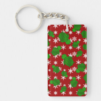 Cute turtle red snowflakes Single-Sided rectangular acrylic key ring