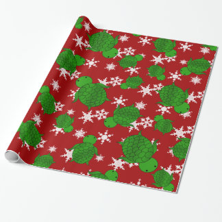 Cute turtle red snowflakes wrapping paper