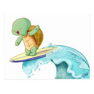 Cute Turtle Surfing Kawaii Postcard