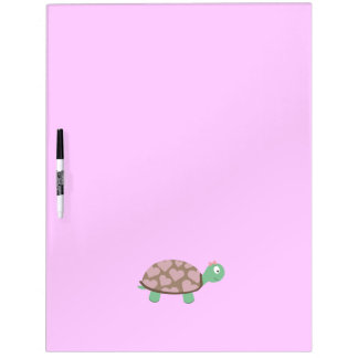Cute Turtle with hearts and pink ribbon Dry Erase Board