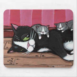 Cute Tuxedo Cat Babysitting Kittens Mousepad