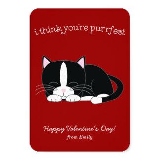 Cute Tuxedo Cat Classroom Valentines 9 Cm X 13 Cm Invitation Card