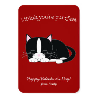 Cute Tuxedo Cat Classroom Valentines Card