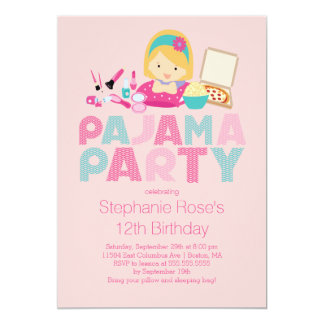 Cute Tween Pajama Birthday Party Invitation